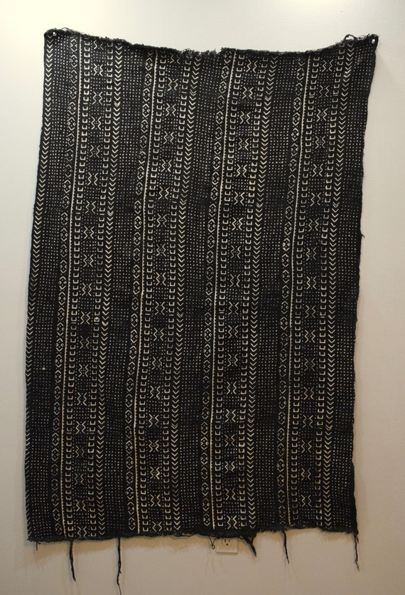 African Mudcloth Black White Patten Dogon Cloth Fabric Brown Mudcloth 62""