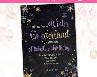 50%Off Winter Onederland Invitation, Gold, Glitter Invitation, Onederland Party, Snow Invitation, Birthday Party, 1st Birthday Invite, Girl