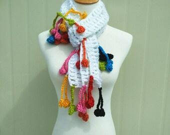 Boho Crochet Fringe Scarf