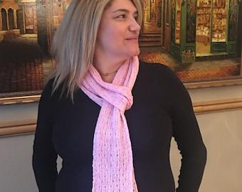 Elegant Eyelet Scarf, Merino Wool & Tussah Silk, Light Pink Scarf, Hand-Dyed Yarns from USA, Valentine Accessory