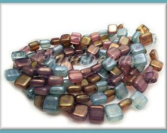 25 Czech Mates Luster Opal Mix - 6mm Czech Tile Beads Purple, Pink, Aqua CZN4