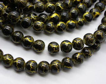 50 glass beads 8 mm painted bomb black with gold