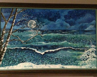 "Original Acrylic: ""Moonlight Over Stormy Waters"""