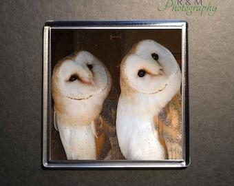 barn owl coaster - owl - barn owl - acrylic coaster - wildlife coaster - owl drink mat - square coaster - 100mm coaster - secret santa