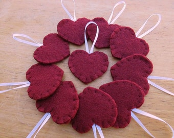 10 maroon heart ornaments, burgundy felt heart decorations, merlot wine charms, embroidered fabric heart accents, maroon wedding decor