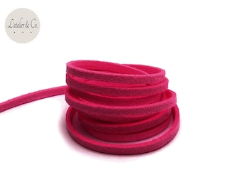 1 m x 1.5 mm suede 3mm raspberry pink suede cord