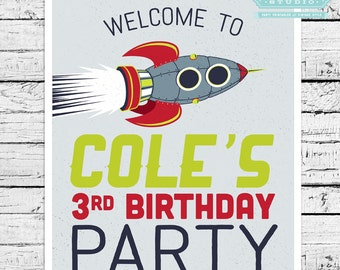 Retro Rockets & Robots Outer Space Personalized 8x10 Sign