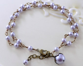 Lavender Pearl Bracelet, Swarovski Pearl, Double Strand, Simple Woodland Wedding, Multistrand Bronze, Antiqued Brass Jewelry