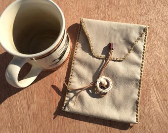 Sand leather checkbook pouch