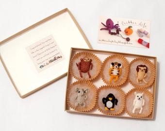 Miniature Crochet Amigurumi Zoo Critter Magnet Set