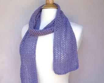 Cotton Lace Scarf, Wisteria Purple, Hand Knit, Open Mesh Lace, Cotton Silk, Luxury Blend, Women's Summer Fashion, Teen Girls