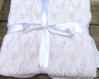 Baby blanket, white knit blanket,  christening, baptisms blanket, baby shower gift, gender neutral  baby blanket, lace knits, made to order
