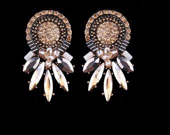 Rhinestone Round Statement Earrings