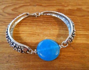 Cyan Blue Agate Cuff Bracelet Bright Summer Jewelry Blue Gemstone Jewelry Bolivian Jewelry Bridesmaid Gift Wedding Jewelry Something Blue