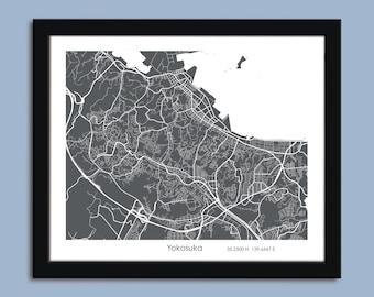 Yokosuka map, Yokosuka city map art, Yokosuka wall art poster, Yokosuka decorative map