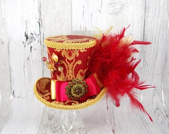 Red and Gold Empress Collection Large Mini Top Hat Fascinator, Alice in Wonderland, Mad Hatter Tea Party, Derby Hat