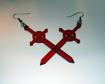 Demon blood sword earrings