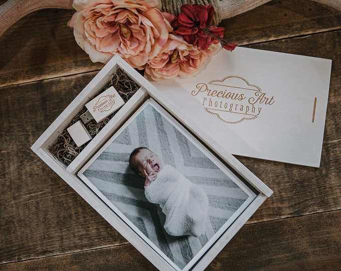 5x7 Wood print box with enough space for prints and usb drive - rectangle - (spanish moss included)