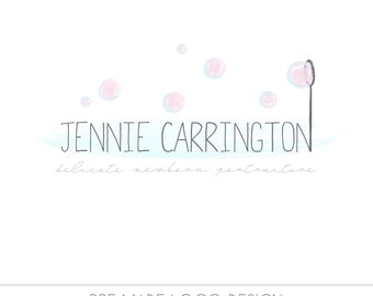 CLEARANCE LOGO - Pre made Bubbles Watercolor Photography Logo, infant photography, children, delicate, fun, family, senior, airy, pink, blue