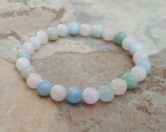 Natural MORGANITE Beryl stretchy healing bracelet 6mm stacking beaded bracelet, intention stretchy bracelet - Abundance of Love