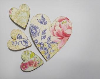 Four Hearts - set of four fridge magnets