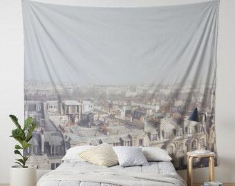 Paris Morning Rooftops Hanging Wall Tapestry. Home Decor, Dorm, Paris, French Decor, Paris Chimneys, Buildings, Paris Headboard Tapestry