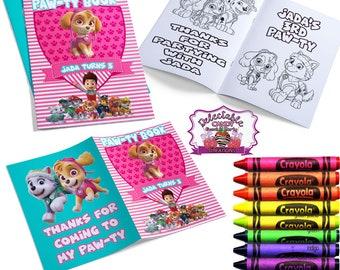 Paw Patrol Coloring Book-Coloring Book-Custom Coloring Book-Paw Patrol Birthday Party-Paw Patrol Books-Paw Patrol Favors-Printables-Chip Bag