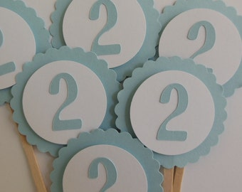 2nd Birthday Cupcake Toppers - Blue and White - Child Birthday Party - Set of 6