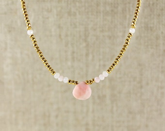 Gold Glass and Pink Opal Beaded Necklace