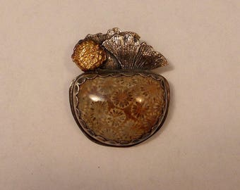 Coral, Ginkgo Leaf Silver and Gold Pendant