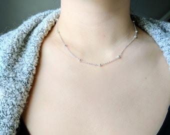Asymmetrical Ball Necklace, Silver Necklace, Necklace, Layering Necklace, Delicate Necklace, Dainty Necklace, Bridesmaid gift, Wedding gift