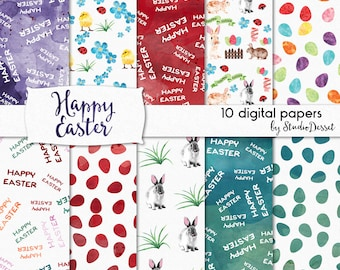Watercolor Easter Papers, Bunny Digital Papers, Rabbit Printable Chicken, Happy Easter, Spring Backgrounds - Personal & Comercial Use