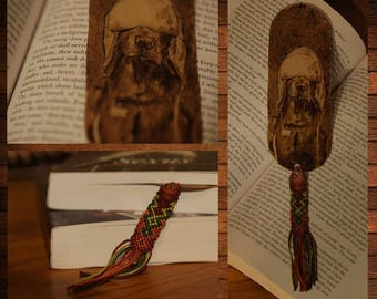 handmade wooden bookmark pyrography cute dog
