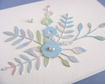 Watercolored Floral on Creamy Ivory Card / Blue Shades, Touch of Purple / Pearl Accents / Can Be Horizontal or Vertical / Ready to Ship