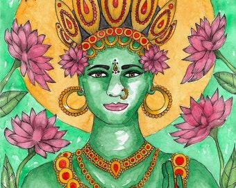 Goddess Art Print Goddess Green Tara Meditation Art Print Yoga Decor Hinduism Art Buddhism Art