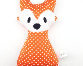 Fox Rattle Orange with White Spots Polka dots New Baby Gift Handmade