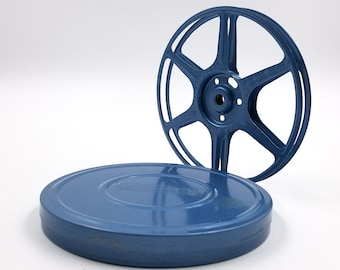 Blue 8 mm Metal Film Reel and Canister
