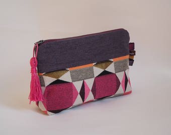 Case / pouch in purple fabric and pink geometric