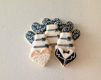 2 Dozen Mini Wedding Themed / Bridal Shower Sugar Cookies