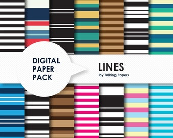 Striped Digital Paper Pack - Linear Backgrounds - Scrapbook Paper - Digital Paper Stripes - Colorful Stripes - Instant Download - 12x12 -