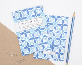 A6 Notebook with Geometric Print // Small Notebook // Geometric Pattern // Lined Paper