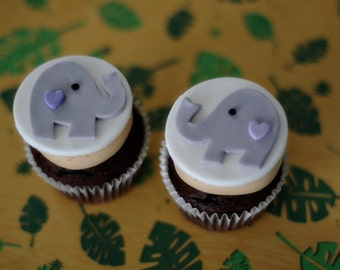 Elephant Fondant Toppers with a Heart for Decorating Cupcakes, Cookies, or Other Treats