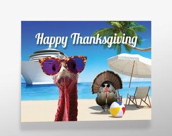 Funny Thanksgiving Holiday Cards and Envelopes (set of 10)