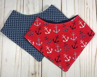 Anchors Away Bandana Bibs - Drool Bib - Toddler Drool bib - Baby Bib - Baby Boy - Baby Shower Gift - Ready to Ship!