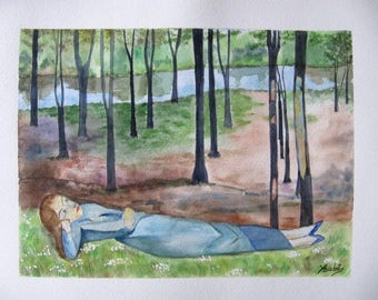 """""""daydreaming in the Woods"""" watercolor painting"""