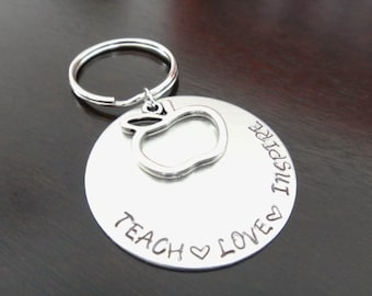 Teacher Gift Teach Love Inspire Motivational Quote Teaching Student Gift Handstamped Key Chain Fob Ring