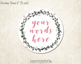 "30 custom stickers, watercolor charcoal wreath, 2"" round, personalized with your words, envelope seals, wedding stickers  (S-136)"