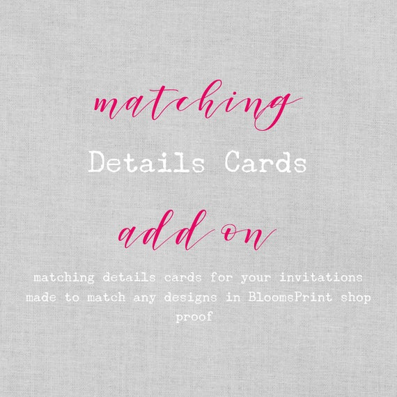 Matching Detail cards for any BloomsPrint Wedding Invitations, Wedding Detail Card, Wedding Insert Cards, Enclosure Cards, Wishing Well, A6