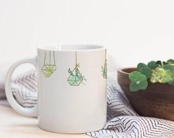 Succulent Terrarium Gold Cacti Wrap Around Microwave-Safe Dishwasher-Safe Mug Drink Cup