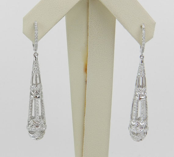 18K White Gold 2.30 ct Diamond Earrings Unique Chandelier Dangle Drop Wedding Gift